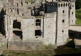 Raglan Castle - The castle's state apartments (left), library (centre) and gatehouse (right)