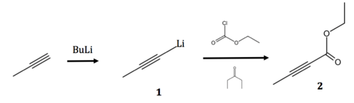 Reaction propyne to ethyl tetrolate.png