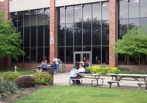 Scott Community College - Photo of the patio area behind Scott Community College's main building.