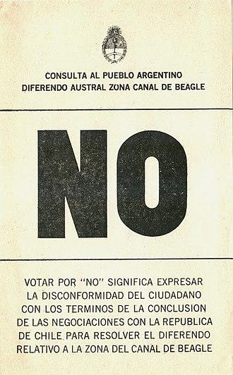 1984 Argentine Beagle conflict dispute resolution referendum - Image: Referéndum sobre el conflicto del Canal Beagle NO