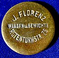 Reference mass of Josef Florenz, Vienna, scales and weights factory about 1900, obverse.jpg