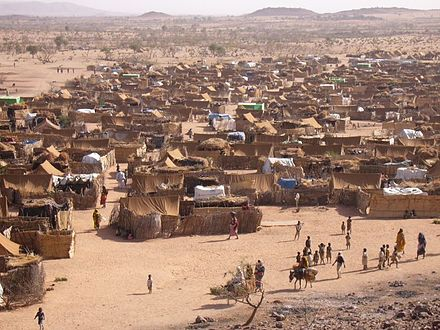 Darfur refugee camp in Chad, 2005 Refugee camp Chad.jpg