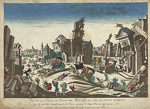 1783 Calabrian earthquakes - Contemporary print of the February 5 earthquake