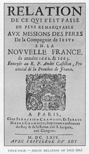 The Jesuit Relations - Cover of the Jesuit Relations for 1662-1663
