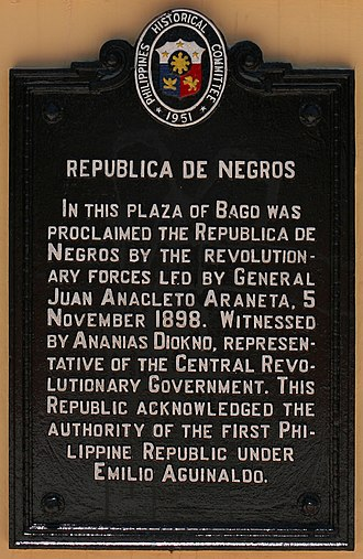 Republic of Negros - Historical marker commemorating the republic in Bago City