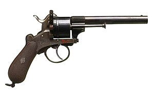 Lefaucheux M1858 - Lefaucheux-style revolver made in Liège, Belgium, circa 1860-1865. On display at Morges castle museum.