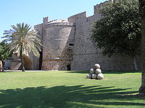 Rhodes-Palace of the Grand Master moat and wall