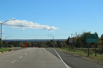 Rice Lake, Wisconsin - Looking east at the sign for Rice Lake on WIS48