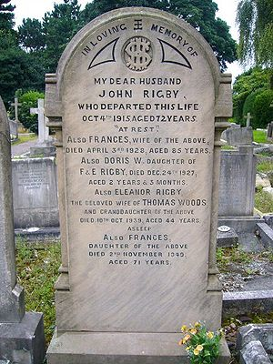 "Eleanor Rigby - The gravestone of the ""real"" Rigby, St Peter's Parish Church, Woolton, August 2008"