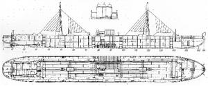 Vandal (tanker) - Image: River tanker Vandal (mechanical drawings, 1903)