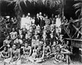 Robert Louis Stevenson, his family and Samoans, and the band of HMS Tauranga at Vailima, ca. 1890.jpg
