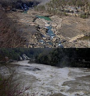 Rock Island State Park (Tennessee) - The Caney Fork at low (top photo) and high (bottom photo) water levels