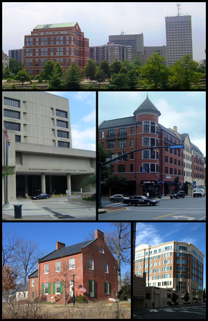 Rockville, Maryland - Downtown Rockville in 2001, the Montgomery County Judicial Center in 2010, the Rockville Town Square in 2010, the Beall-Dawson House in 2005, and downtown Rockville in 2008.