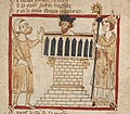 Roman de Brut (c.1325-1350) - BL Egerton3028 f55r (Ethelbert baptized by St. Augustine) (cropped).jpg