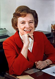 Rose Mary Woods photo portrait as personal secretary to the President, color, seated.jpg