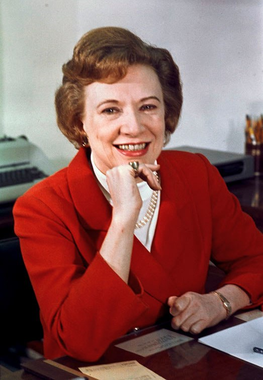 Rose Mary Woods photo portrait as personal secretary to the President, color, seated