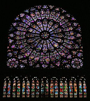 Church window - The south rose window in Notre Dame de Paris, one of the best-known examples of windows in church architecture