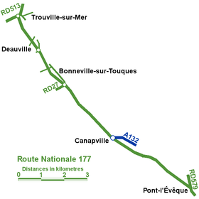 Carte de la route nationale 177