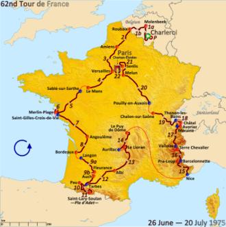 1975 Tour de France - Route of the 1975 Tour de France