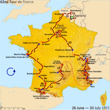 Map of France with the route of the 1975 Tour de France