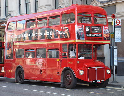 Double-decker Routemaster bus at a stop outside St Paul's Cathedral