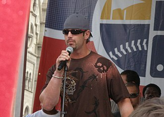 Aaron Rowand - Rowand at a 2007 Philadelphia Phillies rally, celebrating the team's playoff berth.