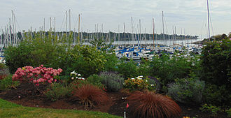Royal Victoria Yacht Club - Gardens and sailboat masts.