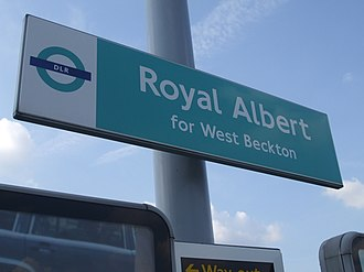 Royal Albert DLR station - Image: Royal Albert stn signage