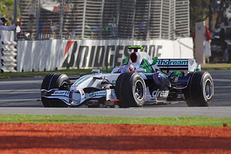 2008 Australian Grand Prix - Rubens Barrichello waving to the crowd after finishing sixth. He would later be disqualified