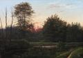 Rudolf Bissen - Morgenrøde ved en skovsø - 1868.png
