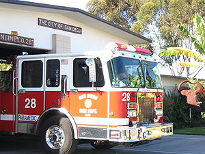 San Diego Fire-Rescue Department - SDFD Engine 28 responding to a motor vehicle accident.