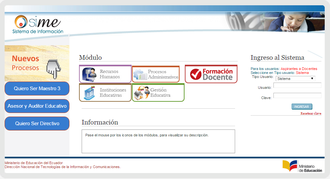 Education in Ecuador - Ministry of Education Information System (SIME) in 2015