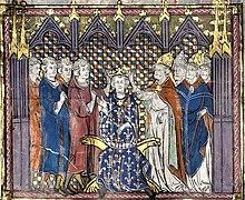 Miniature représentant le sacre d'un roi par un évêque dans un église devant des clercs et des laïcs.