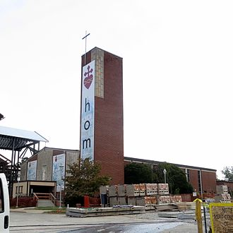 Roman Catholic Diocese of Knoxville - The present Sacred Heart Cathedral in Knoxville with new cathedral under construction in front of it.