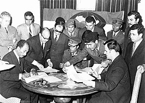 Muammar Gaddafi - In 1971, Egypt's Anwar Sadat, Libya's Gaddafi and Syria's Hafez al-Assad signed an agreement to form a federal Union of Arab Republics. The agreement never materialized into a federal union between the three Arab states.