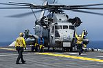 Sailors prepare to launch a CH-53 Super Stallion helicopter. (33639956243).jpg