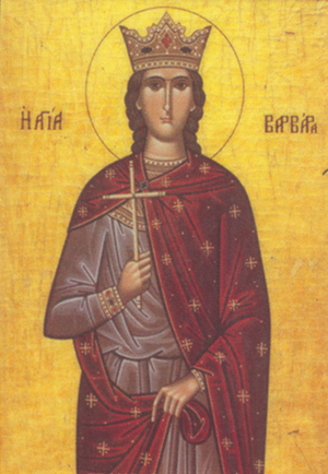 A Greek Orthodox icon of Saint Barbara.