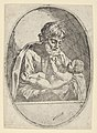 Saint Joseph holding the infant Christ, who raises up his hands, an oval composition, after Reni MET DP837876.jpg