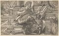 Saint Matthew seated and reading from a book held by a putto, set within a fanciful architectural backdrop, from a series of woodcuts of the Four Evangelists, copy after Rue Montorgueil woodcut MET DP835943.jpg
