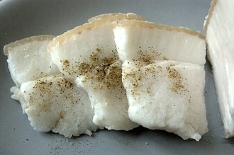 Salo (food) - Salo, sliced small and sprinkled with black pepper, usually it has a layer of meat