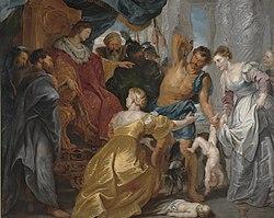Salomos kendelse på maling af Rubens.