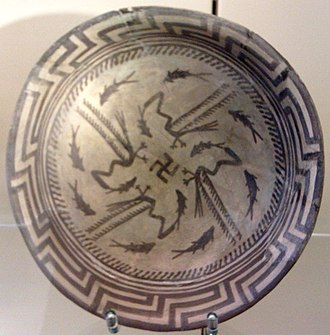 Samarra - The Samarra bowl at the Pergamon Museum, Berlin. The swastika in the center of the design is a reconstruction.