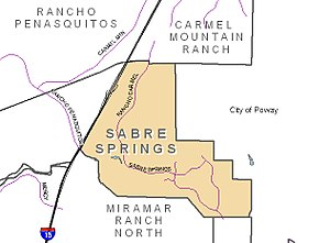 Sabre Springs, San Diego - Image: San Diego Map Sabre Springs