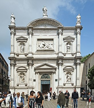Giovanni Priuli - Façade of the Chiesa di San Rocco, in Venice. Priuli worked here and in the adjacent Scuola Grande from 1609 until at least 1612.