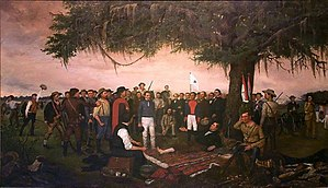 "Battle of San Jacinto - ""Surrender of Santa Anna"" by William Henry Huddle shows the Mexican president and general surrendering to a wounded Sam Houston, battle of San Jacinto"