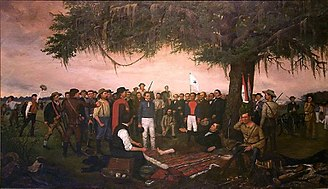 Sam Houston - Surrender of Santa Anna by William Henry Huddle shows the Mexican general Santa Anna surrendering to a wounded Sam Houston. It hangs in the Texas State Capitol.