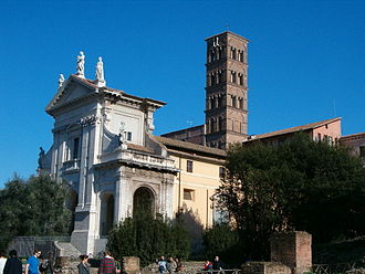 Santa Francesca Romana, Rome - Santa Francesca Romana's travertine façade (by Carlo Lambardi, 1615) and its 12th-century Romanesque