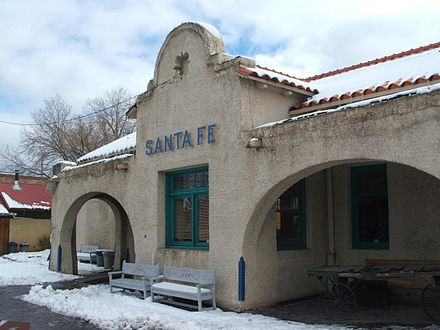 Downtown Santa Fe train station Santa fe depot railrunner.jpg