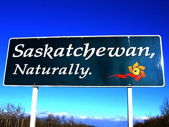 "A ""Welcome to Saskatchewan"" sign gre..."