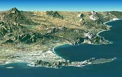 A NASA satellite image of Cape Town and its environment taken by a Landsat satellite in February 2000